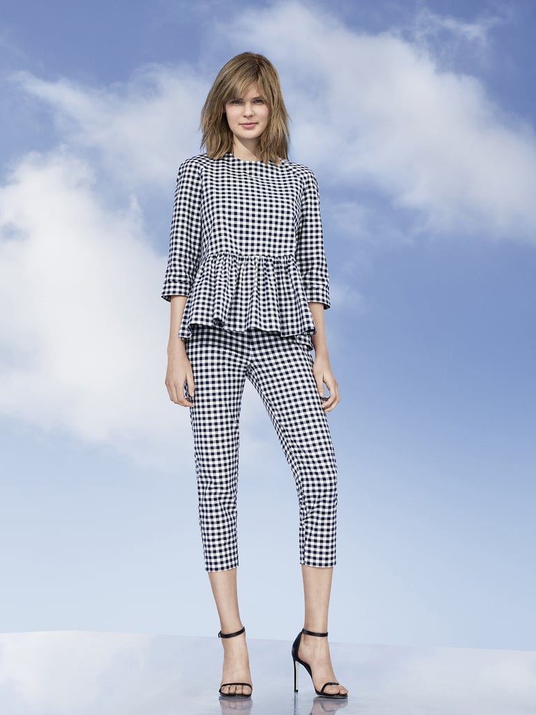 The Women's Blue and White Gingham Twill Peplum Blouse is being  sold for $190 on eBay and was originally $30.