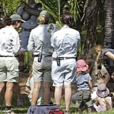 Leonardo DiCaprio looked on as the zoo staff played with animals.