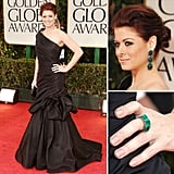 Debra Messing was classically beautiful in a black one-shouldered Monique Lhuillier gown.