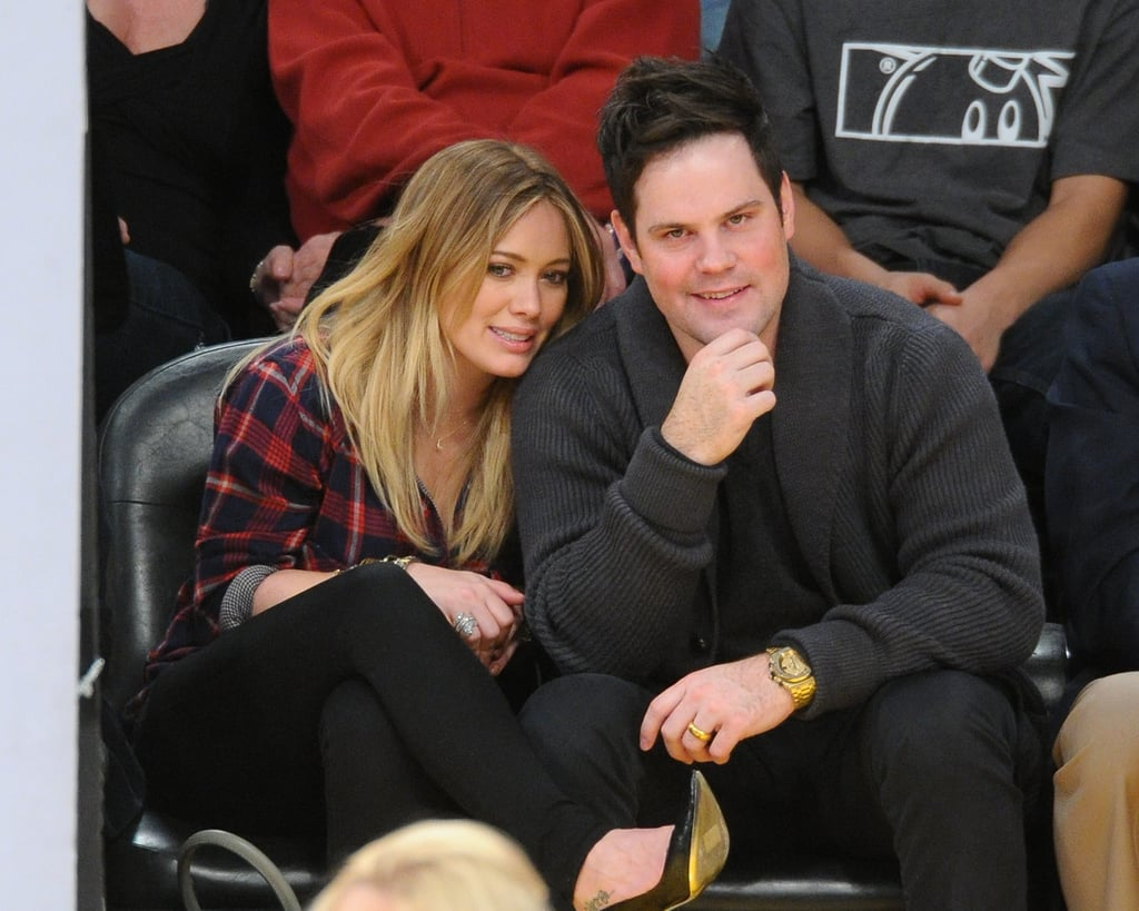 Hilary Duff watched a Lakers game with her husband, Mike Comrie, in January.