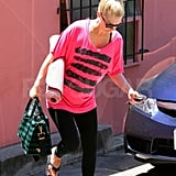 January Jones Makes a Hot Pink Appearance at Yoga Class