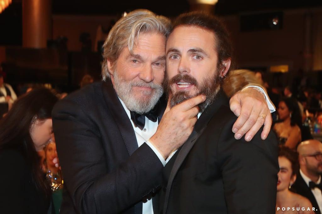 Jeff Bridges playfully grabbed Casey Affleck's beard.