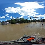 A panorama shot of the flooding in Port Vincent, LA.