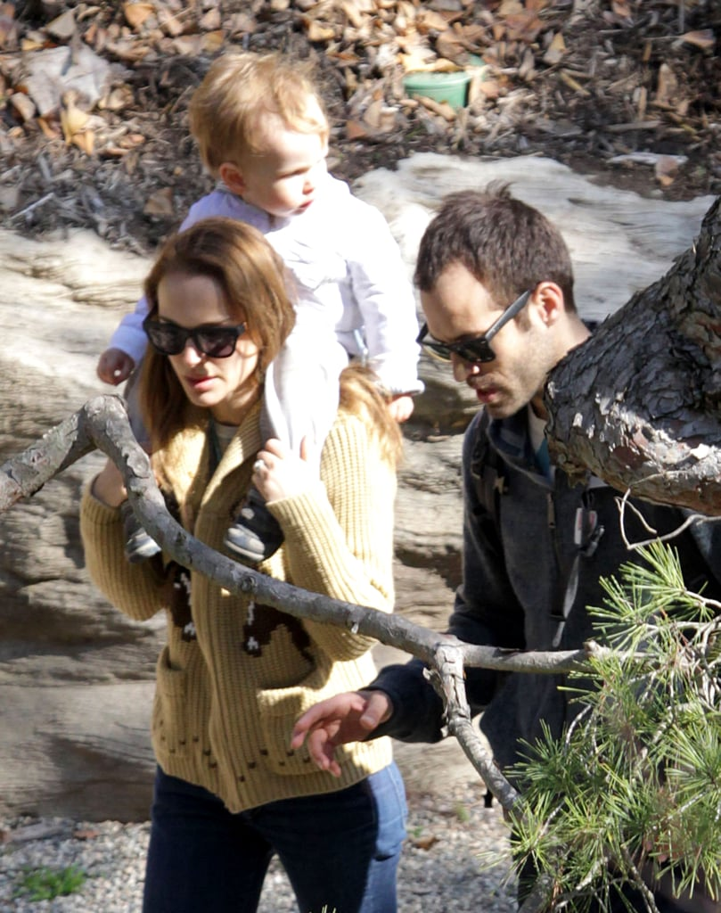 Natalie Portman, Benjamin Millepied, and their son, Aleph Millepied, spent an afternoon out at Huntington Botanical Gardens.