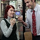 Meredith and Jim cheers! How cute is Jim's tie?  Photo courtesy of NBC