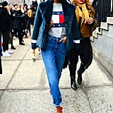 Jourdan Dunn matched her coat and heels to her red and blue Tommy Hilfiger tee.