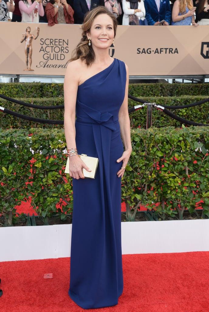 Diane Lane in an asymmetrical Angel Sanchez royal-blue dress.