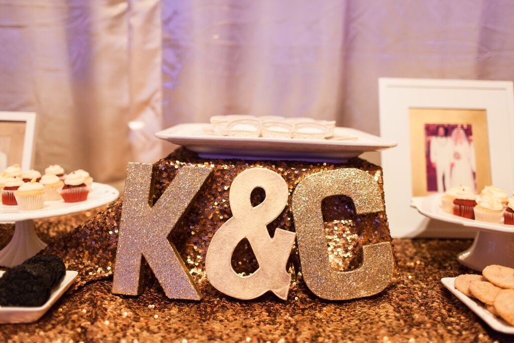 Make gilded initial centerpieces for your dessert table.
