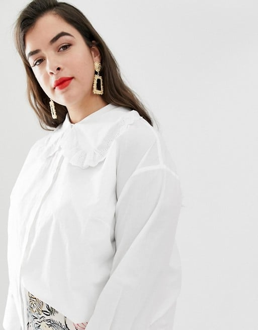 Neon Rose Plus Shirt With Oversized Peter Pan Collar