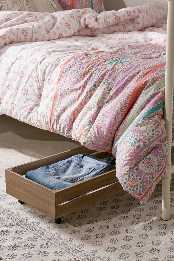 Under The Bed Rolling Wood Storage Box Best Home