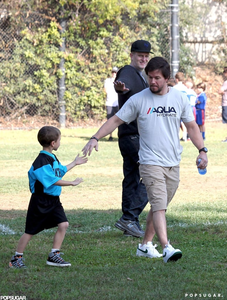 Mark Wahlberg held out his hand for his son Michael.