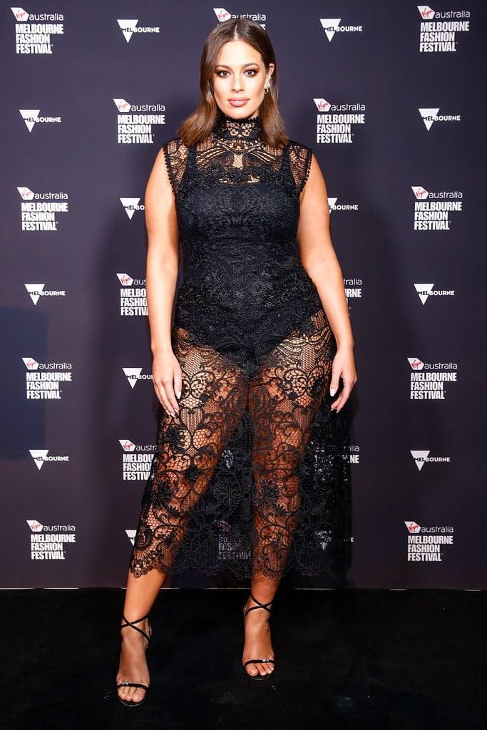 6391511dd8656 Ashley Graham Black Lace Midi Dress