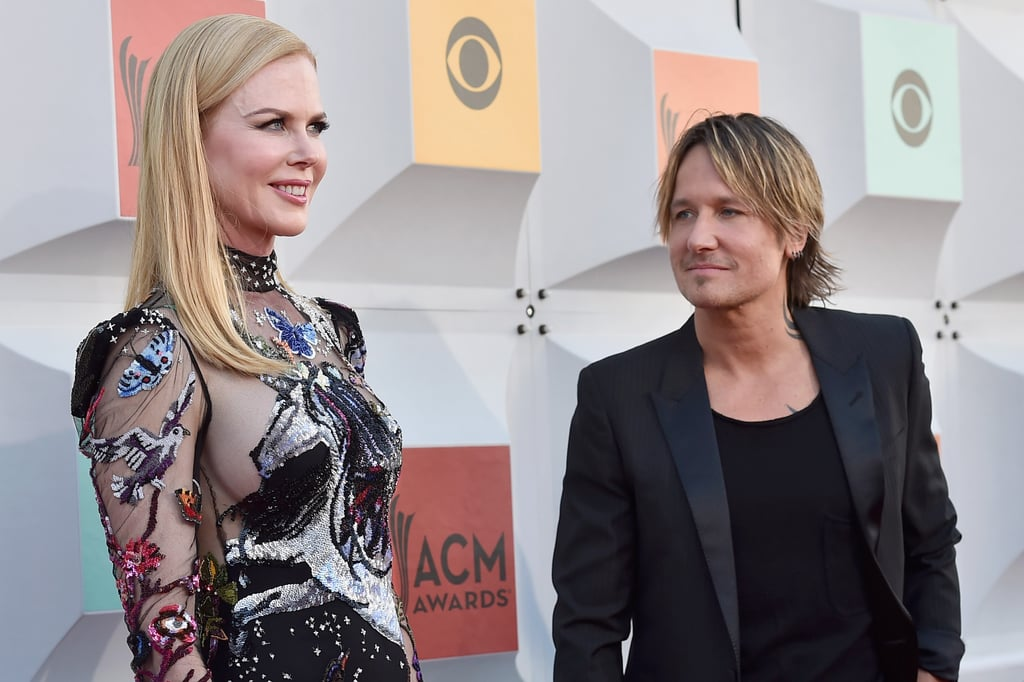 """Nicole Kidman was on hand to support her husband, Keith Urban, for his big night at the ACM Awards in Las Vegas on Sunday. The couple, who've spread their love all around the globe, were as cute as can be while posing for photos on the red carpet. At one point, Keith — knowing how stunning his wife looked — took a step back to admire her beauty. Later in the night, Keith took the stage with Miranda Lambert for a performance of ZZ Top's """"Tush."""" Keep reading to see more pictures, and then check out all the stars who popped up at the event."""