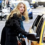 Blake Lively getting into a cab.