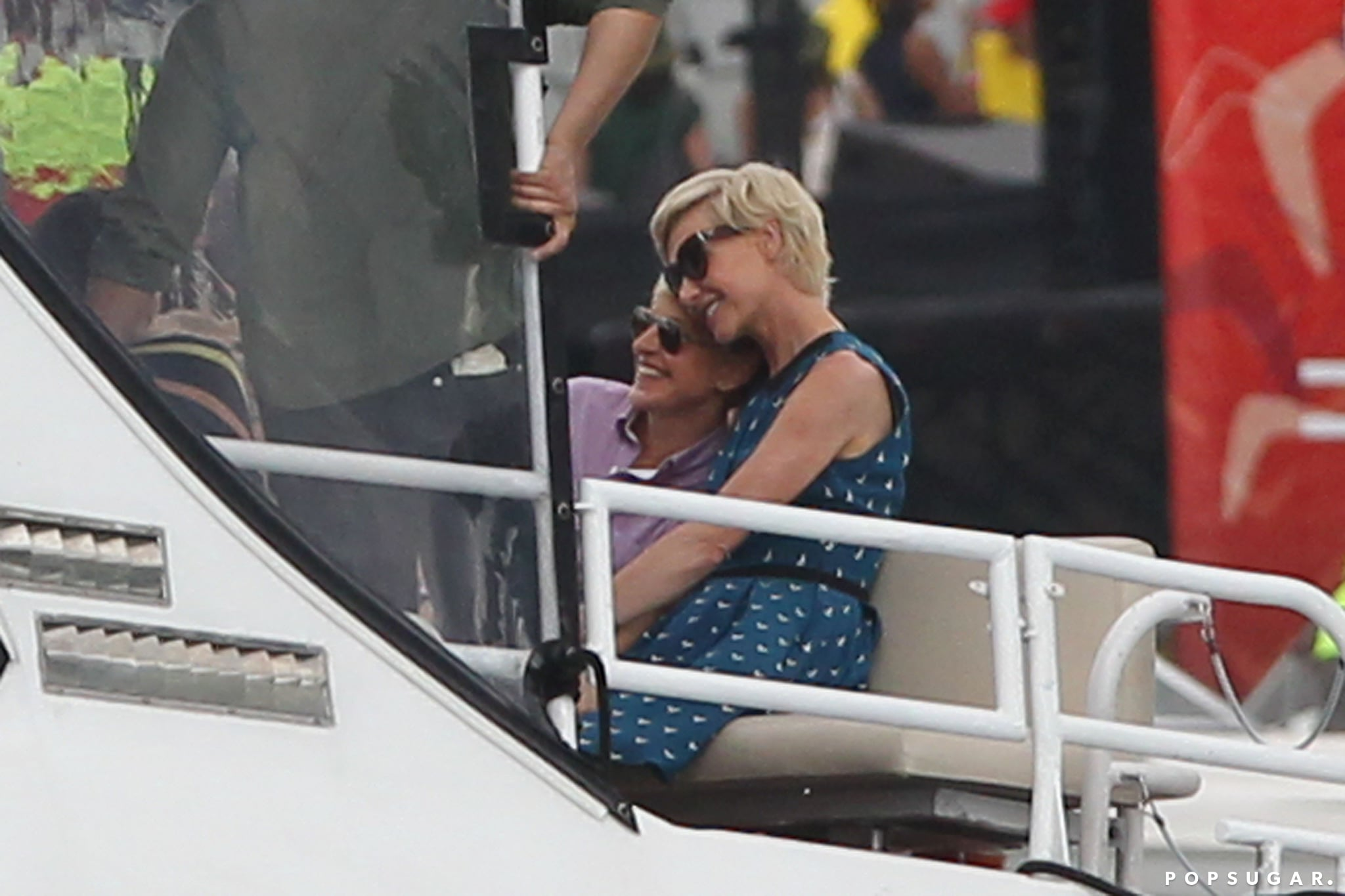 Ellen Degeneres and Portia de Rossi cuddled up on a water taxi in Sydney, Australia, in May 2013.