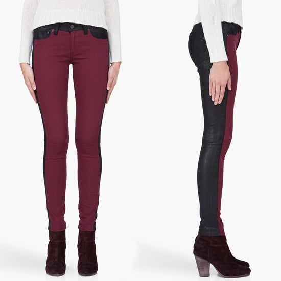 We love how these Rag & Bone jeans ($770) pack a punch with their leather combo construction.