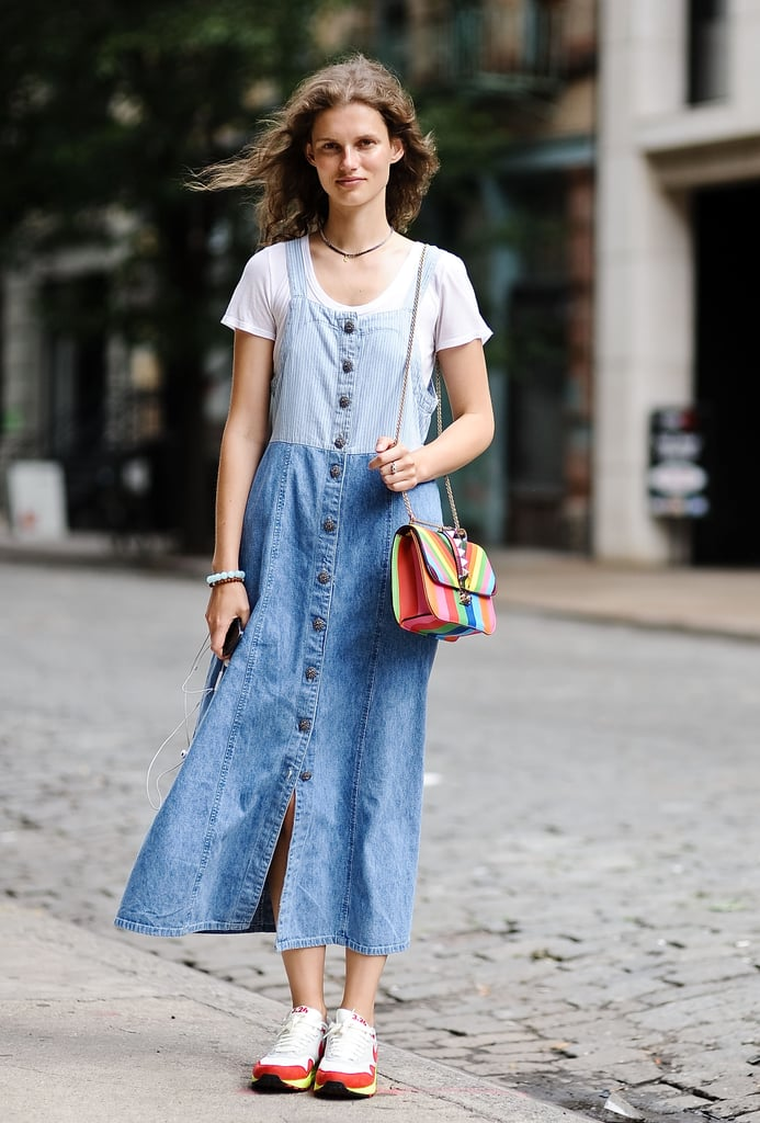 Wearing head to toe denim looks extra cool when paired with colorful accessories.