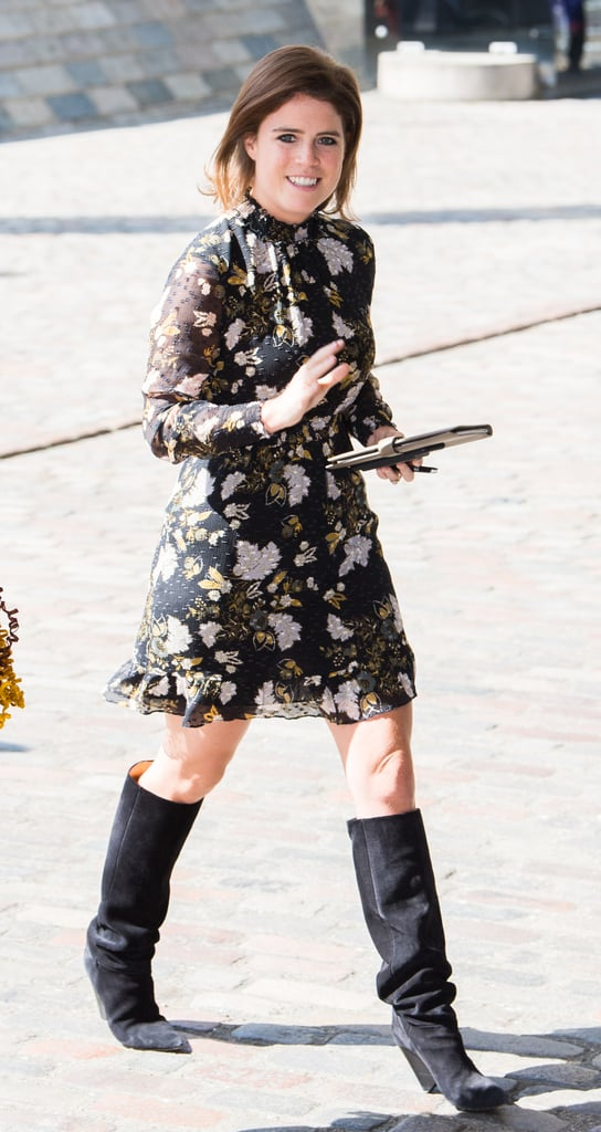 Eugenie rocked this floral chiffon Whistles dress with a pair of knee-high '80s-style boots in London in April 2018.