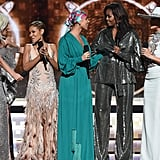 Pictured: Lady Gaga, Jada Pinkett Smith, Alicia Keys, Michelle Obama, and Jennifer Lopez
