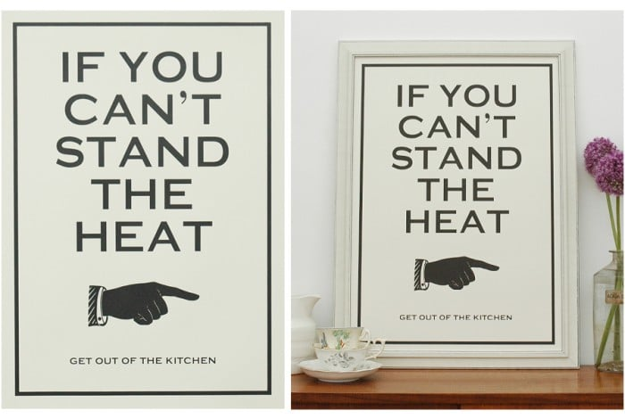 "Truman's catchphrase ""If you can't stand the heat, get out of the kitchen"" makes its way onto a hand-pulled screen print ($29) that's perfect for a serious chef."