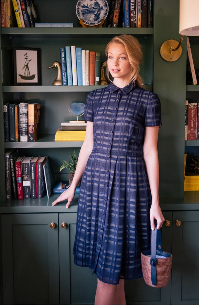 Gal Meets Glam Collection Mackenzie Windowpane Jacquard Shirtdress
