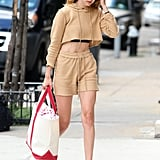 Gigi Hadid Matching Hoodie and Shorts Outfit