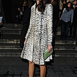 Giovanna Battaglia heated things up in a zebra-printed coatdress at Lanvin.