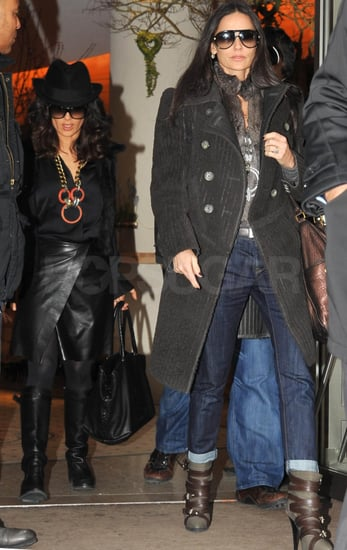 Pictures of Demi Moore, Ashton Kutcher, and Salma Hayek Leaving Hermes and Lanvin in Paris