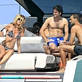 Heidi chatted with friends on the yacht.