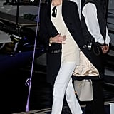 For the Johnnie Walker Yacht Party, it was kitten heels, white trousers, and a blouse and jacket from Chloé's Pre-Fall 2013 collection.