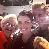 Hanging out with co-star Emma Myles and internet sensation Baddie Winkle at a June 12 OITNB fan event.