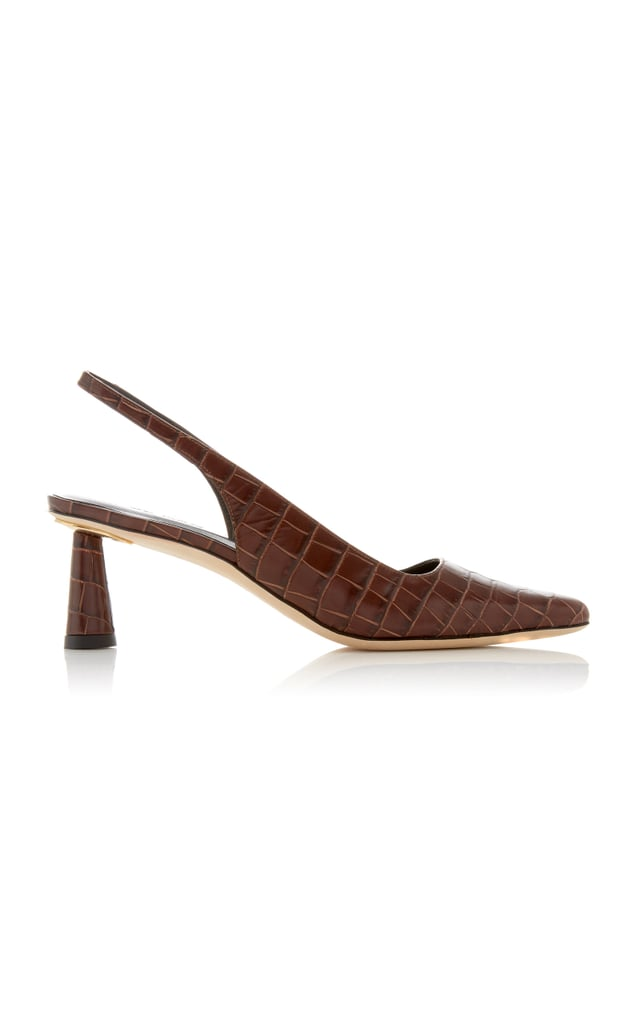 By Far Diana Crystal-Embellished Croc-Effect Leather Pumps