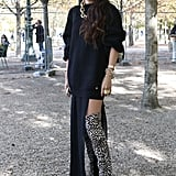This styler made her leopard-print boots the main attraction with thigh-high slit.