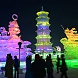 People snapped pictures of the glowing ice sculptures.
