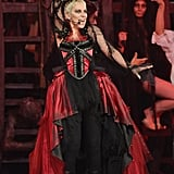 Annie Lennox rode in on a pirate ship and wore red and black for her performance.