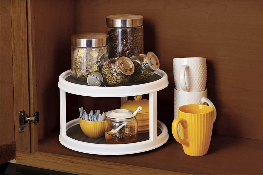Non-Skid 2-Tier Pantry Cabinet Lazy Susan Turntable