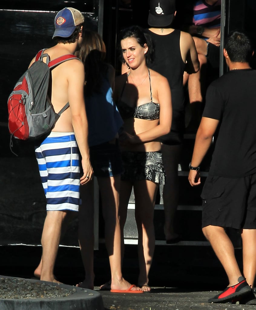 Katy Perry talked with friends at the water park.