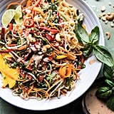 Rainbow Thai Basil Noodle Salad With Sesame Vinaigrette