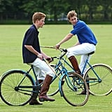 The boys participated in a bicycle match in 2002.