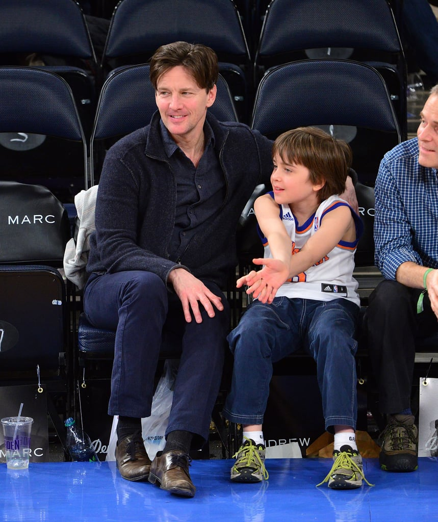 Andrew McCarthy and his son were front row for the action at the February Knicks vs. Sacramento Kings game at Madison Square Garden.
