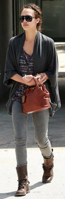Jessica Alba in Brown Boots and Gray Cardigan