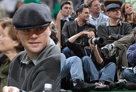 Leonardo DiCaprio and Mark Ruffalo at the Boston Celtics Game