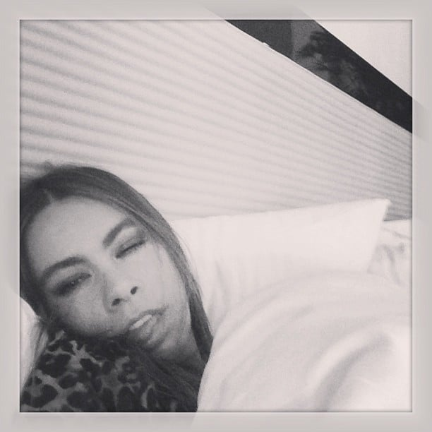 Sofia Vergara snapped a photo of herself watching from home because she wasn't feeling well. Source: Instagram user sofiavergara
