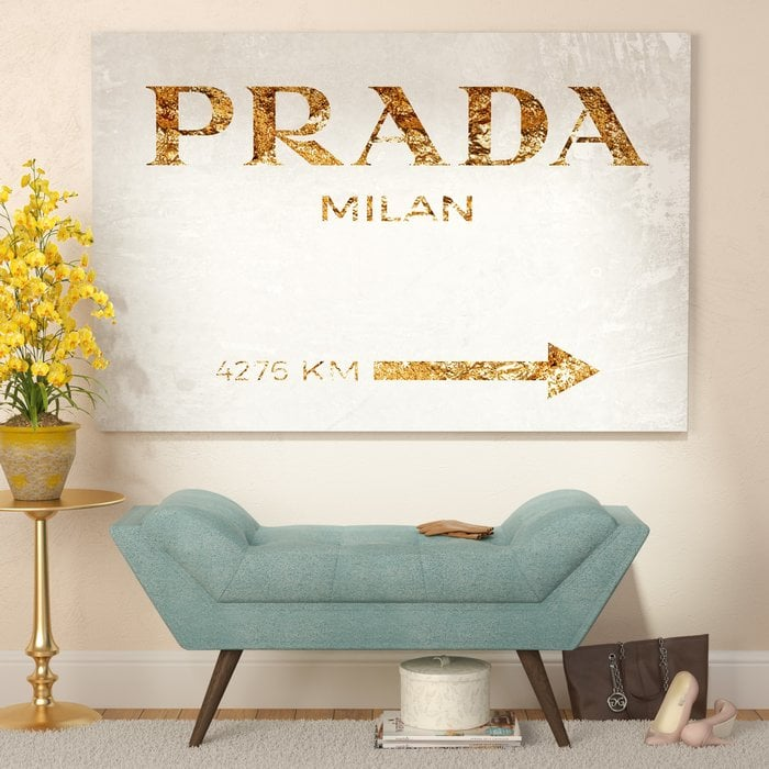 'Milan Velvet' Textual Art on Wrapped Canvas