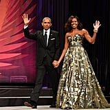 "While attending the Congressional Black Caucus Foundation Annual Phoenix Awards dinner in Washington, DC in September, Barack gave his wife a sweet shout-out, saying, ""I've been so blessed to have a wife and a partner on this journey who makes it look so easy and is so strong and so honest and so beautiful and so smart."""
