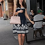 Miranda wore a flirty, floral dress to lunch.