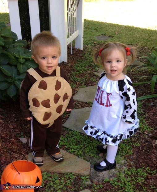 Milk And Cookie Matching Sibling Costumes For Kids
