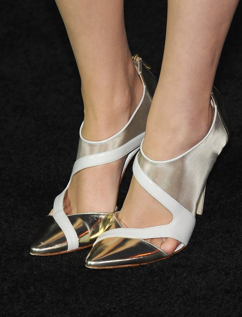 Emma Watson's futuristic shoes grabbed our attention at the New York premiere of Gravity in October.