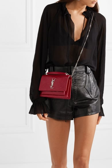 434b3457 Saint Laurent Sunset Small Textured-Leather Shoulder Bag | Best ...