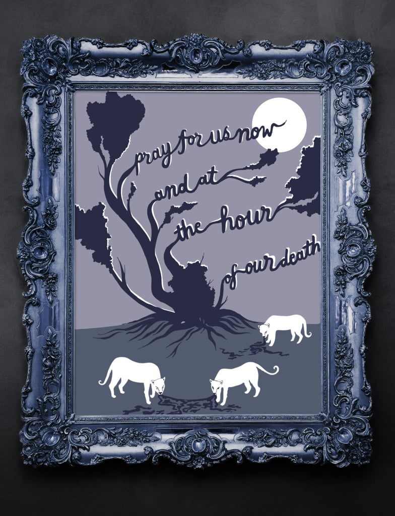 """This screenprint is based on the poem """"Ash Wednesday"""" by T.S. Eliot ($40)."""